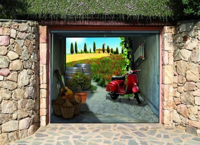 Секционные ворота с дизайном сельский пейзаж