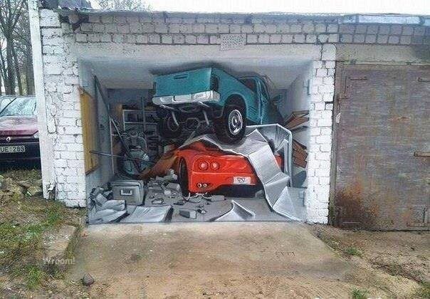 Ворота для гаража с рисунком свалка (хлам)