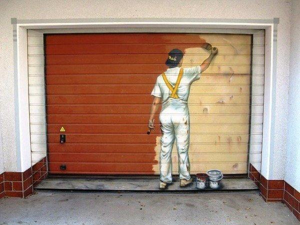 Ворота для гаража с маляром (дизайн)