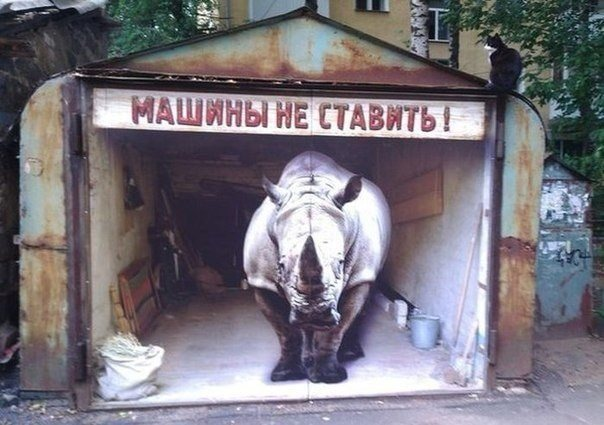 Рисунок носорога на воротах (машины не ставить)