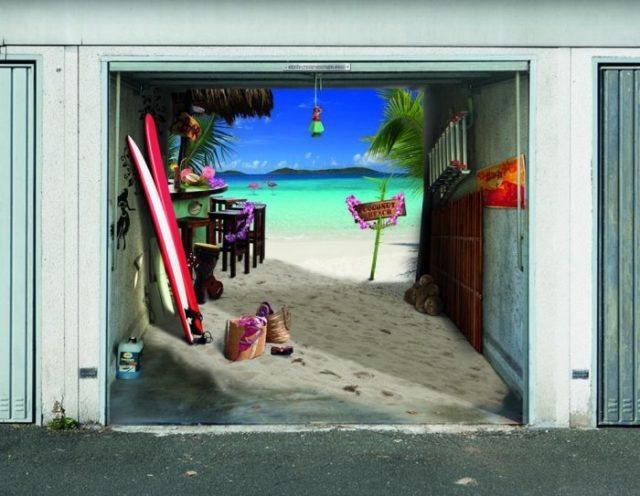 Ворота для гаража с морским пейзажем
